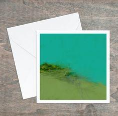 Carte de vœux, dessin abstrait original, turquoise vert mauve jade, 5,25x5,25, intérieur blanc. Carton satiné, grande qualité, enveloppe. Mauve, Polaroid Film, Turquoise, Custom Map, Greeting Cards, Envelope, Originals, Impressionism, Graphic Design
