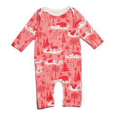 Winter Water Factory Long-Sleeve Romper | Winter Forest Red