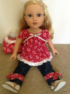 American Girl 18inch Doll Clothes  Jeans Heart by HFDollBoutique, $22.00