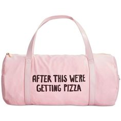ban.do After This We're Getting Pizza Gym Bag ($28) ❤ liked on Polyvore featuring bags, handbags, accessories, purses, pink, neon purse, handbags purses, neon handbags, nylon purse and man bag