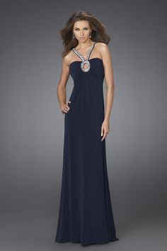 Dark Navy Column V-Neck Open Back Sweep Train Sequined Floor Length Evening Dress