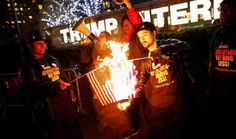 Watch Protesters Burning American Flags Outside of Trump Tower