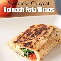 For Starbucks feta wrap junkies only! For Starbucks feta wrap junkies only! Healthy Recipe Videos, Healthy Dinner Recipes, Vegetarian Recipes, Vegetarian Wraps, Vegetarian Sandwiches, Healthy Wraps, Veggie Wraps, Healthy Panini Recipes, Easy Healthy Lunch Ideas