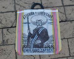"Emiliano Zapata ""Tierra y Libertad"" Mexican Mesh All Purpose Tote Bag on Etsy, $12.00"