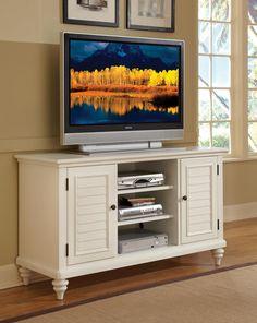 Home Styles Bermuda TV Credenza Stand, White