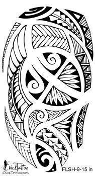 Polynesian Style 1/2 Sleeve Flash Tattoo Design #maoritattoospierna #tattoossamoandesigns