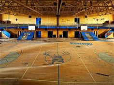 A school gymnasium in Detroit, Michigan, developed a warped floor as a result of heavy water damage Abandoned Detroit, Abandoned Buildings, Abandoned Places, Detroit Ruins, Abandoned Castles, Terrain Basket, Beijing, School's Out Forever, Lost Places