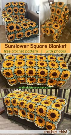 pattern Learn how to make a sunflower granny square blanket with this FREE crochet pattern! There's a video and photo tutorial to guide you through the process. If you love sunflowers and you Crochet Afghans, Crochet Motifs, Crochet Squares, Knit Or Crochet, Crochet Crafts, Easy Crochet, Crochet Projects, Granny Squares, Crochet Ideas