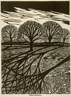 Anita Laurence, Winter II, linocut