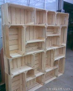 DIY idea- Shelf out of crates. This would be cute for craft fairs too!
