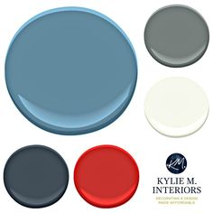 Paint colour palette ideas for boys, teenage bedroom using blue, gray, red and orange. Labrador Blue Benjamin Moore and accents