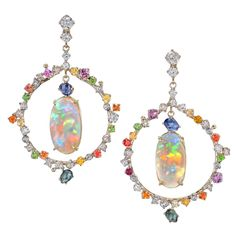 Trusso Certified Matched Australian Opal Multicolor Sapphire Diamond Earrings