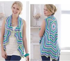 """Use this free crochet pattern to make a pastel colored rippling vest. AUNT LYDIAS Bamboo Crochet Thread"""" is used in sea glass, lilac, still pool and key lime for the beautiful pastel look. This is a great vest for the spring and summer months. This p"""