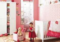 Baby Girl Nursery - Red Pink and White