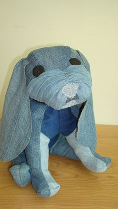 Shyla Basset Hound Upcycled Denim Stuffed Animal by BusyBeehive, $35.00