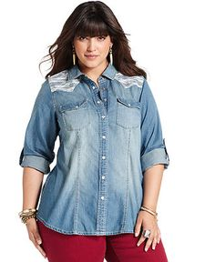 American Rag Plus Size Shirt, Long-Sleeve Chambray Lace - Junior Plus Size - Plus Sizes - Macy's