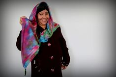 Hlaiwah modeling the silk scarf she painted. #woventogether