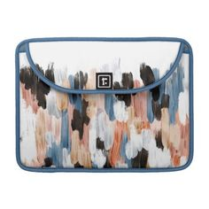 Copper and Blue Brushstrokes Abstract Design Sleeve For MacBook Pro #laptop #computer #ipad #mac #sleeve #bags #modern #colorful