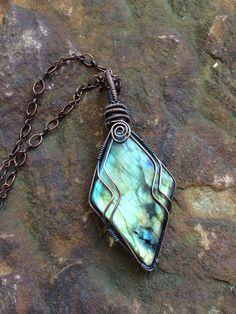 Wire Wrapped Diamond Shaped Labradorite Pendant made by Okinasart