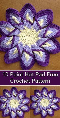 Classic 10 point hot pad - Free Crochet Pattern
