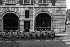 A line of bikes outside an Antiques shop on the Île de la Cité