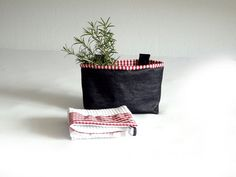 Fabric organizer and kitchen towel or wall organizer  - Kitchen storage - OOAK - home decoration - gingham & jeans - gift