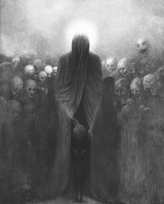 By Zdzisław Beksiński; for Halloween I think we should replace all our hung artwork with pics like this.