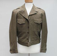 40s Vintage Men's Cropped Wool Military Jacket - MEDIUM. $39.00, via Etsy.