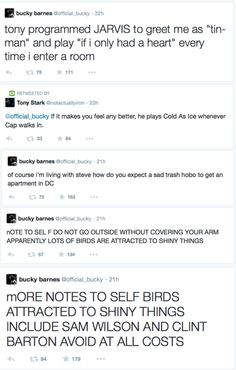 Bucky Barnes twitter account -- the last comment, that was hilarious... get more only on http://freefacebookcovers.net