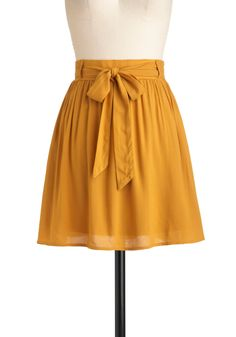 Clover the Moon Skirt in Honey - Short, Yellow, Solid, Belted, Work, Casual, Fall