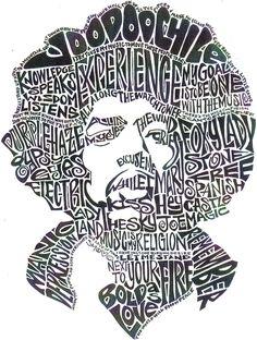 Jimi Hendrix black and white word portrait
