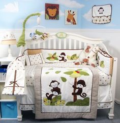 Soho Monkey Coconut Tree Baby Crib Nursery Bedding Set 14 Pcs Included Diaper Bag With Changing