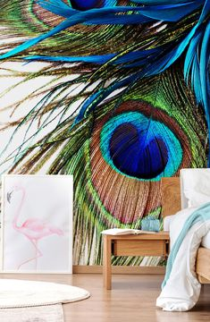 With beautiful cobalt, turquoise blues and emerald greens, relish in this beautiful large peacock feathers wallpaper mural. In feng shui, the eyes on peacock tails are said to improve your protection and awareness. We hope this stunning mural will do just that for you! We offer paste the wall in classic or premium as well as textured peel and stick wallpapers. Discover more from Wallsauce! #wallpaper #bedroominspo #wallmural Peacock Wallpaper, Tropical Wallpaper, Photo Wallpaper, Wall Wallpaper, Library Images, Blue Wallpapers, Design Your Home, Peacock Feathers, Peel And Stick Wallpaper