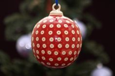 """4.5"""" Ornament Ball (Dot to Dot - Red) High-Quality Polish Stoneware from the largest supplier in the western United States - The Polish Pottery Outlet in Englewood, CO"""