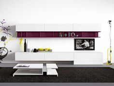 Sectional wall-mounted TV wall system BUTTERFLY by Novamobili
