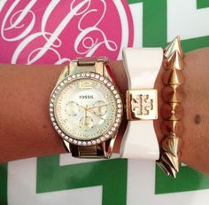 (find my personal style blog on instagram @fashioncharisma) watch: Fossil / spike bracelet: Target / bow bracelet: Tory Burch