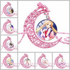 SUTEYI Sailor Moon wiccan hồng trăng necklace glass dây chuyền và mặt dây chuyền đẹp Đôi C vòng cổ statement necklaces