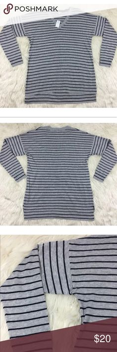 GAP maternity gray navy striped pullover knit top New with tags. Silk and cotton blend. Please see pictures for measurements. GAP Tops Tees - Long Sleeve