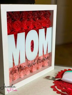 (More than) Fifteen Ideas For Shadow Boxes To Make For Mothers Day. Four with step by step tutorials, and a few with free svgs Qui. Rolled Paper Flowers, Paper Flowers Craft, Flower Crafts, Mother's Day Projects, Wood Projects, Project Free, Project Ideas, Free Family Tree, Free Monogram