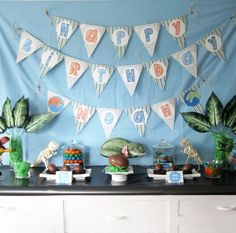 T-Rex Dino Party, my sons 4th Birthday party dessert table.