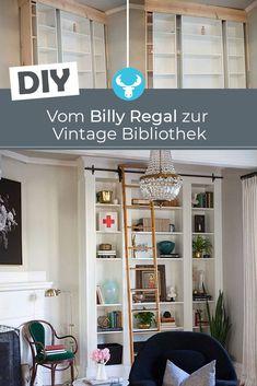 So verwandelst du einfache BILLY Regale in eine stilvolle Vintage-Bibliothek - Toboe - internationally inspired Billy Regal Hack, Ikea Billy Hack, New Swedish Design, Ikea Hacks, Home Office, Sweet Home, Bedroom, Vintage, Diy