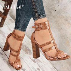LALA IKAI Gladiator heels High sandals Women's summer shoes Ankle strap Peep Toe wedding shoes W High Sandals, Ankle Strap Sandals, Women's Sandals, Gold Sandals, Ankle Straps, Womens Summer Shoes, Womens High Heels, Peep Toe Wedding Shoes, Sandals Wedding