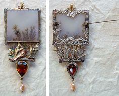 by Kristine Danielson. Dendritic agate, citrine, pearl, several colors of gold.
