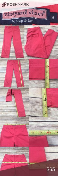 🌤Sz 6 Vineyard Vines Salmon Cropped Skinny Pants Measurements are in photos. Normal wash wear, no flaws. F3  I do not comment to my buyers after purchases, due to their privacy. If you would like any reassurance after your purchase that I did receive your order, please feel free to comment on the listing and I will promptly respond.   I ship everyday and I always package safely. Thank you for shopping my closet! Vineyard Vines Pants Ankle & Cropped