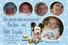 mickey mouse first birthday photo invitations - Bing Images