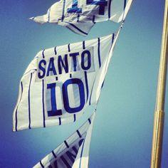 The Ron Santo foul pole flag at Wrigley Field.