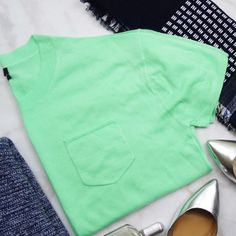 """J. Crew Neon Cashmere Tee Details: • Size L • Short sleeves • Chest pocket * Bust: 44.5"""" * Length: 22.75"""" * Fabric content: 100% cashmere • NWT   03031608 J. Crew Sweaters Crew & Scoop Necks"""