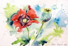 Original Watercolour  Delivery free poppy red by ValerieMafricaArt