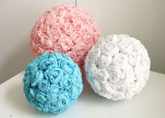 Tissue Paper Flower Balls After the holidays, I acquired a ton of used tissue paper and I knew there were ways I could reuse it in a creative way. I started looking up tissue paper crafts on Pinterest and low and behold there were ample ideas available. I actually made one of these flower balls the other night and it turned out pretty darn good for my first one ever. The only down side to these is that it's very time consuming. The answer to this would be to gather your girls and have a…