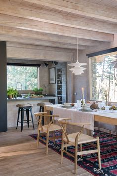 00477897 O. Kitchen open to the dining room, walls and floor with the same Home Decor Kitchen, Farmhouse Kitchen Decor, House Design, Home Remodeling, Home Decor, Tiny House Cabin, House Design Kitchen, House Interior, Home Interior Design